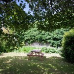 The walled garden also has a picnic table